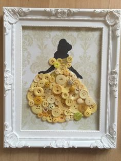 Disney belle, beauty & the beast inspired princess. Button art in shabby chic decor / frame. Nursery art. Baby shower / christmas gift. by BowsAndButtonsUK on Etsy https://www.etsy.com/uk/listing/277348190/disney-belle-beauty-the-beast-inspired