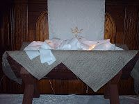 """Creative Advent Worship - strips of cloth given out first Sunday, then carried and prayed over by congregation. On last Sunday/Christmas Eve, strips were brought back, tied together by pew and placed into the manger to """"soften"""" it."""