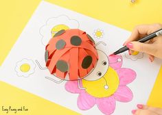3D Paper Ladybug Craft With Template