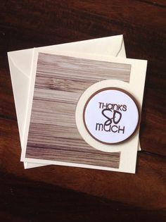 Danke mit wood texture paper und Kreisstanzen