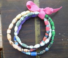 Recycled Paper Bracelet  •  Free tutorial with pictures on how to make a paper bead bracelet in under 120 minutes