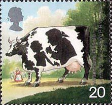 Millennium Series. The Patients's Tale 20p Stamp (1999) Vaccinating Child (pattern in cows markings) (Jenner's development of smallpox vaccine)