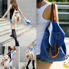 P144 New Campus Girl Teenager Women Canvas Backpacks Student School String Casual Leisure Shoulder Bags Bookbag Purse Beige Blue