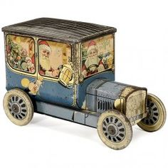 Santa Claus Biscuit Tin Vintage Car, c. 1920