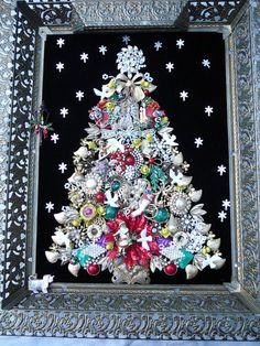 vtg.Rhinestone Jewelry Christmas Tree Art FRAMED FOLK ART HANDMADE OOAK #HANDMADE