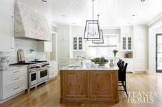 Atlanta Homes & Lifestyles - kitchens - white cabinets, white cabinetry, white kitchen cabinets, white kitchen cabinetry, glass fronted cabi...
