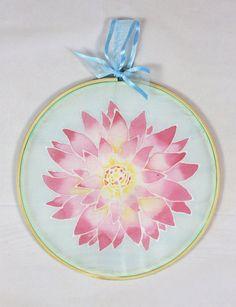 Silk Sun Catcher  Pink Wall Decor  Flower by NicolaDavisCrafts