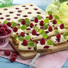 Halloncheesecake i långpanna Bake Boss, Fika, Tart, Waffles, Nom Nom, Cheesecake, Strawberry, Food And Drink, Cupcakes