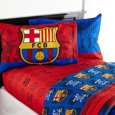 New Barcelona FCB Soccer Bedding Sheet Complete Set Kids Toddler Bedroom  Twin