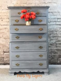 High boy dresser painted in grey and with a charcoal colored glaze. Smooth gliding drawers provide lots of storage. Furniture Market, My Furniture, Recycled Furniture, Furniture Makeover, High Boy Dresser, West Jefferson, Color Glaze, Hand Painted Furniture, Charcoal Color