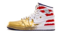 Limited to only 25 pairs worldwide, this very special edition of the Air Jordan 1 by artist Dave White features a metallic gold and red striped upper. All pairs were auctioned of for charity, making this a rare find, indeed. Retro Sneakers, High Top Sneakers, Sneakers Nike, Jordan 1, Jordan Shoes, Dave White, Red Stripes, Girls Shoes, Air Jordans