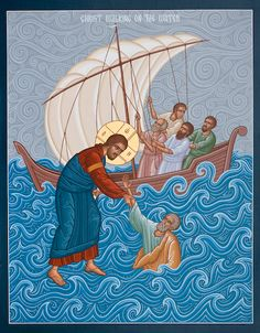 """Beholding Jesus lifts us to extraordinary levels in life. Whenever we sink down Jesus immediately raises us again. Matthew """"Then Peter got down out of the boat, walked on the water and came toward Jesus. when he saw the wind, he was afraid and, b Religious Images, Religious Icons, Religious Art, Byzantine Icons, Byzantine Art, Jesus Walk On Water, Water Icon, Religion, Biblical Art"""