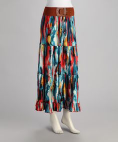 Take a look at this Blue Brushstroke Belted Maxi Skirt by Meetu Magic on #zulily today!