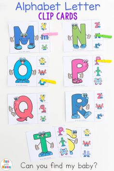 FREE Printable Alphabet letter matching clip cards. Toddlers and preschoolers will match uppercase and lowercase letters, work on fine motor skills, visual recognition and colors.