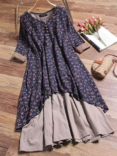 Gracila Floral Printed Two Layers Long Sleeve Vintage Dresses Source by aysek. - Gracila Floral Printed Two Layers Long Sleeve Vintage Dresses Source by aysekrmzgl Dress - Women's Dresses, Dresses Online, Fashion Dresses, Summer Dresses, Loose Dresses, 1950s Dresses, Casual Dresses, Floral Dresses, Dress Long
