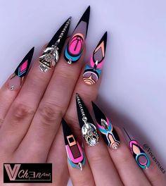 42 Elegant Black Nail Art Designs and Ideas Ongles Bling Bling, Bling Nails, Swag Nails, Gorgeous Nails, Pretty Nails, Nail Art Designs, Stiletto Nail Art, Matte Nails, Black Nail Art