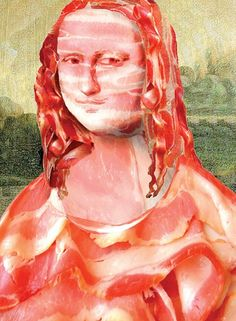 Mona Lisa made from Bacon, pop art, food collage art.