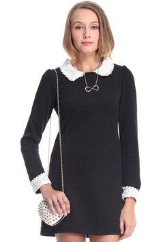 ROMWE   Lapels Lace Panel Black Slim Dress, The Latest Street Fashion