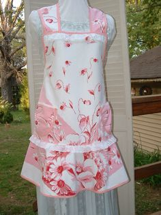 Vintage Floral Pink Tablecloth Apron Full by VintiqueDesigns, $40.00
