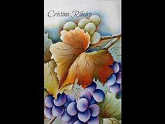 """Como pintar um galho de uvas com folhas. Projeto gratuito """"A parreira"""". Aula 2 - YouTube"""