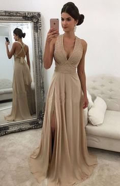 Elegant Prom Dresses,V Neck Prom Gown,Champagne Prom Dresses,Long Prom Dress,Slit Prom Dress,Long Evening Dresses