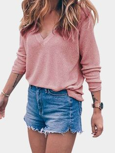 Pink V-neck Long Sleeves Sweater Jumper
