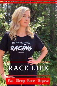 Race Shirts For Women Race Life - Eat, Sleep, Race, Repeat Dirt Racing Women T Shirts Dirt Track Racing Shirts for Women Racing Life Collection