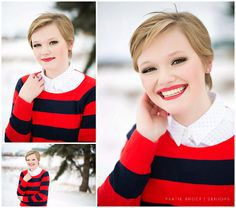 Winter Senior Photos Red Lips Professional Make-up