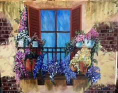 """Balcony Flowers"" painted by Tina Mason Bond. Tina uses real stucco for the back wall and took this 8x10 lesson and painted it on a 16x20 canvas and added bricks too. Excellent! The step by step tutorial can be   found on Ginger Cook Live on YouTube; https://youtu.be/vByxdtgKU-o"
