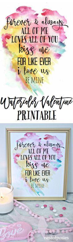 Watercolor Printable Valentine