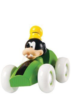 Brion värikkäissä kilpa-autoissa on puinen runko ja kumiset pyörät, ja ne sopivat hyvin pientenkin lasten leikkeihin. Vihreää autoa ohjaa Hessu Hopo (hahmo ei ole irrotettava). Auton koko on 70 x 140 x 75 mm.