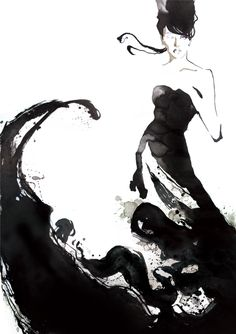 Fashion illustrator Yasunari Awazu.... I love the use of negative space... expressive and flowing lines, but yet still simple with it's choices... I love it.