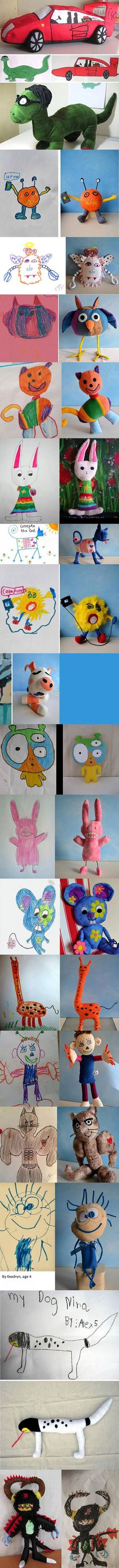 Child's Own Studio allows parents to submit their children's drawings, and receive a custom plush toy in return. Here are some of the adorable results…