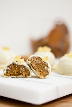 Vegan White Chocolate Pumpkin Gingersnap Truffles from Keepin' It Kind. These delicious little bites are the perfect marriage of pumpkin, ginger and white chocolate flavors.
