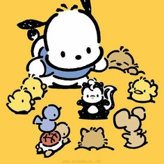 The official website for all things Sanrio - the official home of Hello Kitty & Friends - games, events, characters, videos, shopping and more! Hello Kitty Characters, Sanrio Characters, Cute Characters, Sanrio Wallpaper, Hello Kitty Wallpaper, Pochacco Sanrio, Badtz Maru, Keroppi, Japanese Pop Art