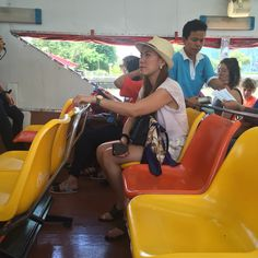 Boat ride in the Chao Praya River going to the temples.   bangkok, Thailand