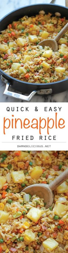 Rice Pineapple Fried Rice ~ A quick and easy weeknight meal that's so much cheaper, tastier and healthier than take-out!Pineapple Fried Rice ~ A quick and easy weeknight meal that's so much cheaper, tastier and healthier than take-out! Tasty Vegetarian, Food Dishes, Main Dishes, Rice Dishes, Pineapple Fried Rice, Hawaiian Fried Rice, Pineapple Shrimp, Pineapple Recipes, Crushed Pineapple