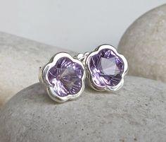 Flower Amethyst Earring Purple Amethyst Earring Flower by Belesas