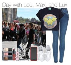 """Day with Lou, Max, and Lux"" by niall-nation ❤ liked on Polyvore featuring Topshop, River Island, Stella & Dot, Toast, Oliver Peoples, DesignSix, Revlon and Bobbi Brown Cosmetics"
