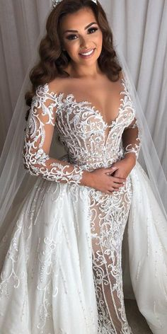 unique lace wedding dresses with illusion long sleeeves sweetheart neckline overskirt leahdagloria Luxury Wedding Dress, Sexy Wedding Dresses, Bridal Dresses, Lace Wedding, Couture Wedding Dresses, Lace Styles For Wedding, Beautiful Wedding Gowns, Gown Wedding, Mermaid Wedding