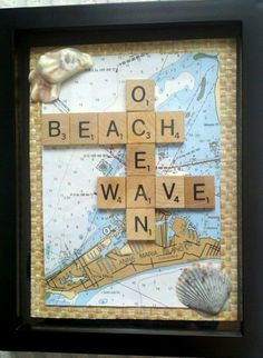Scrabble Tile Art Idea with Map... http://www.completely-coastal.com/2017/03/scrabble-tile-art-ideas.html