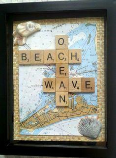 Scrabble Tile Art Idea with Map... http://www.completely-coastal.com/2017/03/scrabble-tile-art-ideas.html