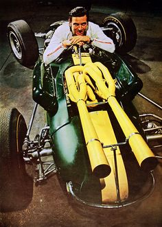 "Double F1 World Champion Jim Clark with his ""Powered by Ford"" Lotus 38 he drove to victory at the 1965 Indy 500."