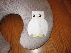White Owl On Gray Silver Minky Dot Nursing Pillow Cover Also Fits Boppy Pillow