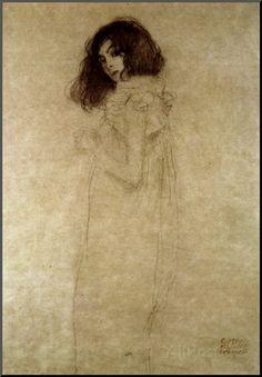 Portret van jonge vrouw, ca. 1896 Gicléedruk van Gustav Klimt bij AllPosters.nl