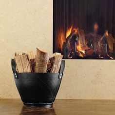 Firewood holder (Rubber bucket from Container Store)