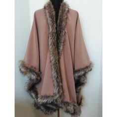 Camel Cashmere Poncho Luxury Wool Blend Cape in Faux Fox Fur Oversize... (453180 IQD) ❤ liked on Polyvore featuring outerwear, wrap poncho, wool blend cape, poncho cape, wrap cape coat and faux-fur cape