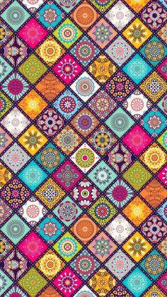 Flower Phone Wallpaper, Pink Wallpaper, Colorful Wallpaper, Pattern Wallpaper, Islamic Art Pattern, Pattern Art, Mandala Drawing, Mandala Art, Flower Backgrounds