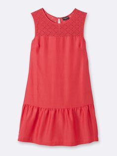 WOMEN'S COTTON AND SILK DRESS CORAL