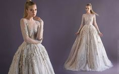 2014 AW Couture   Paolo Sebastian PSAW1411 - Sleeved lace ball gown encrusted with crystals and 3D flower petal detail
